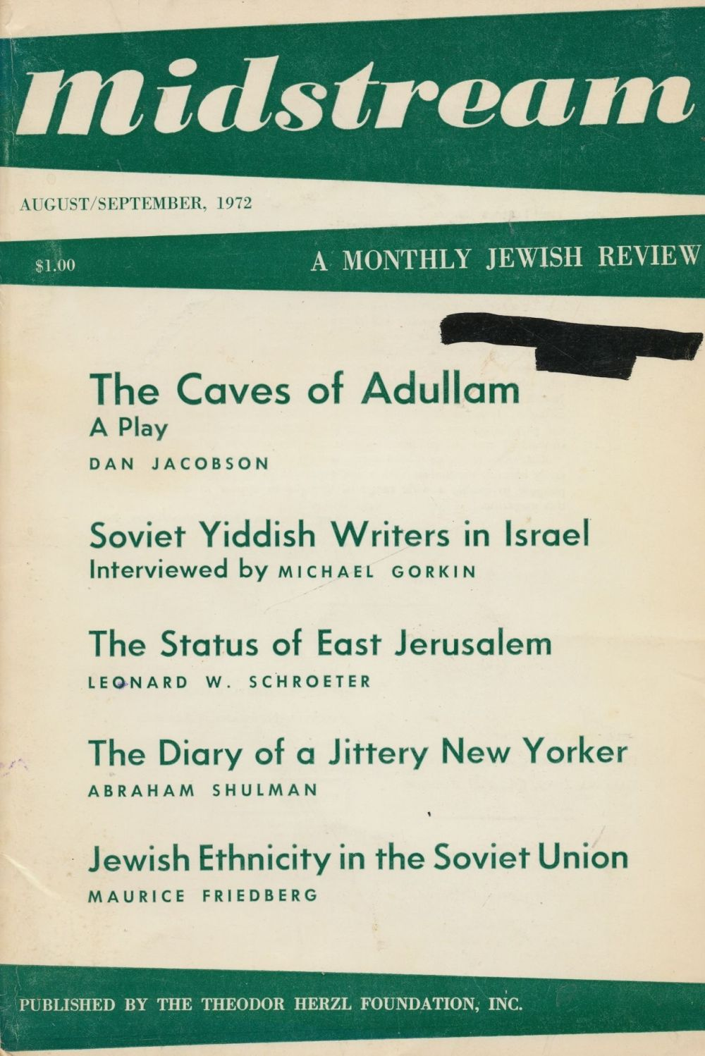 Image for Midstream: a Monthly Jewish Review - August-September 1972
