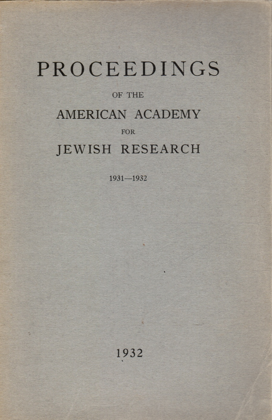 Image for Proceedings on the American Academy for Jewish Research: 1931-1932
