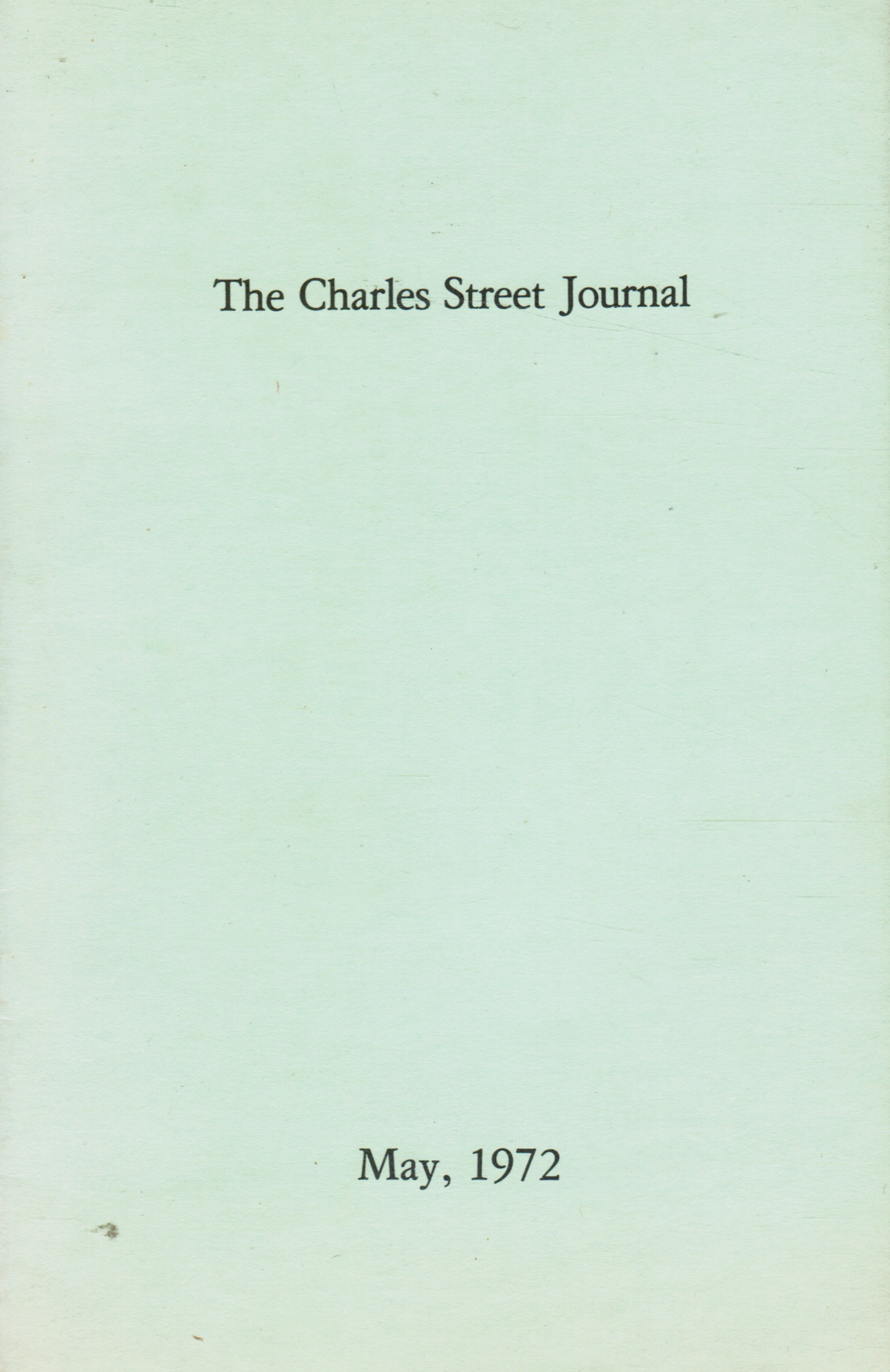 Image for The Charles Street Journal: May 1972 The Edgar Allen Poe Express Etc