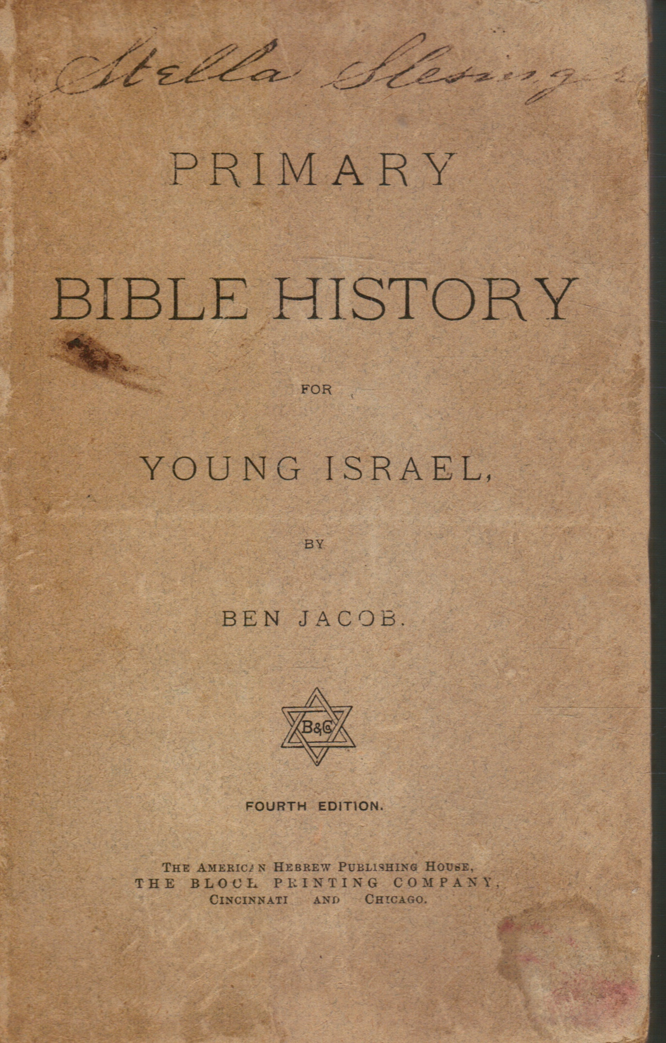 Image for Primary Bible History for Young Israel