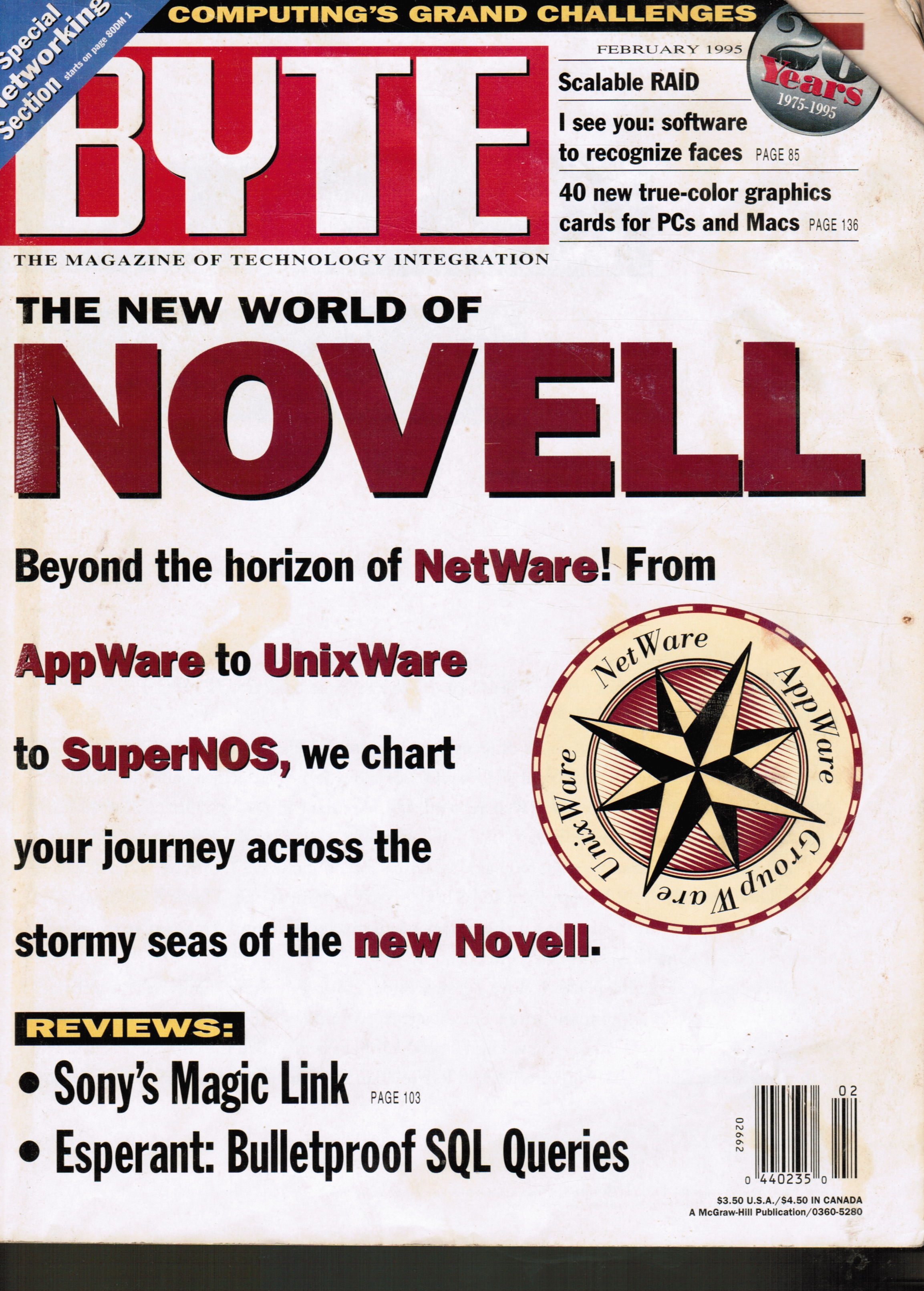 Image for BYTE Magazine February 1995 Vol 20, No 2 Novell; Networking