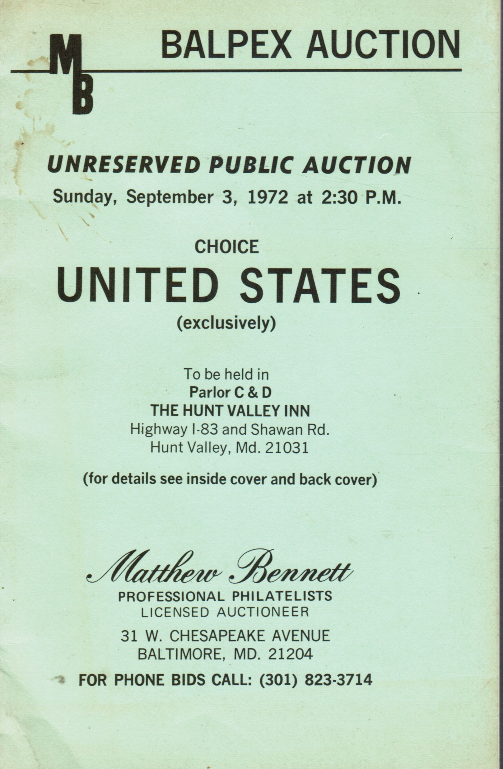Image for Balpex Auction: September 3, 1972