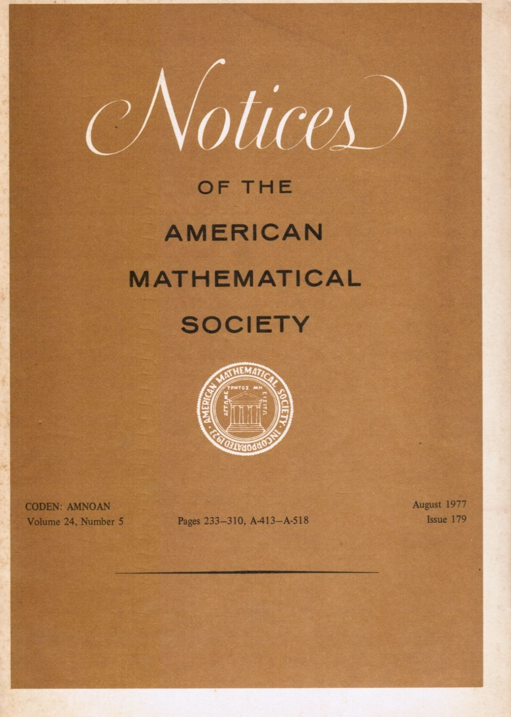 Image for Notices of the American Mathematical Society: Volume 24, Number 5, August 1977