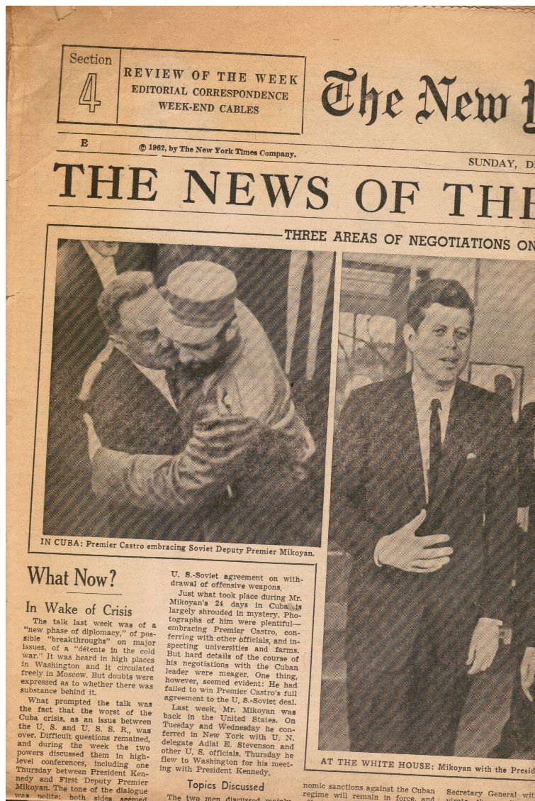 Image for 1962: the New York Times Cover: Castro, John F. Kennedy, Mikoyan, U Thant