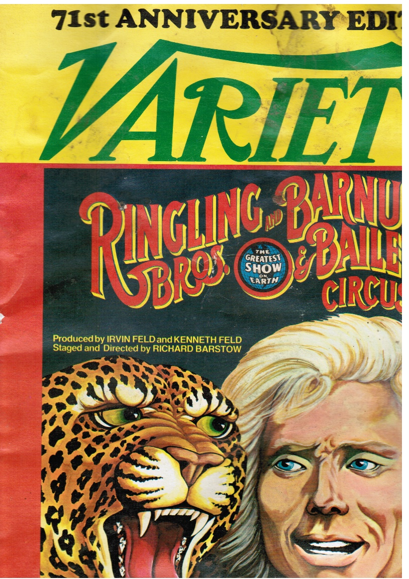 Image for VARIETY: 71st Anniversary Edition Vol 285, No 9. Jan 5, 1977 Cover - Ringling Bros and Barnum & Bailey Circus