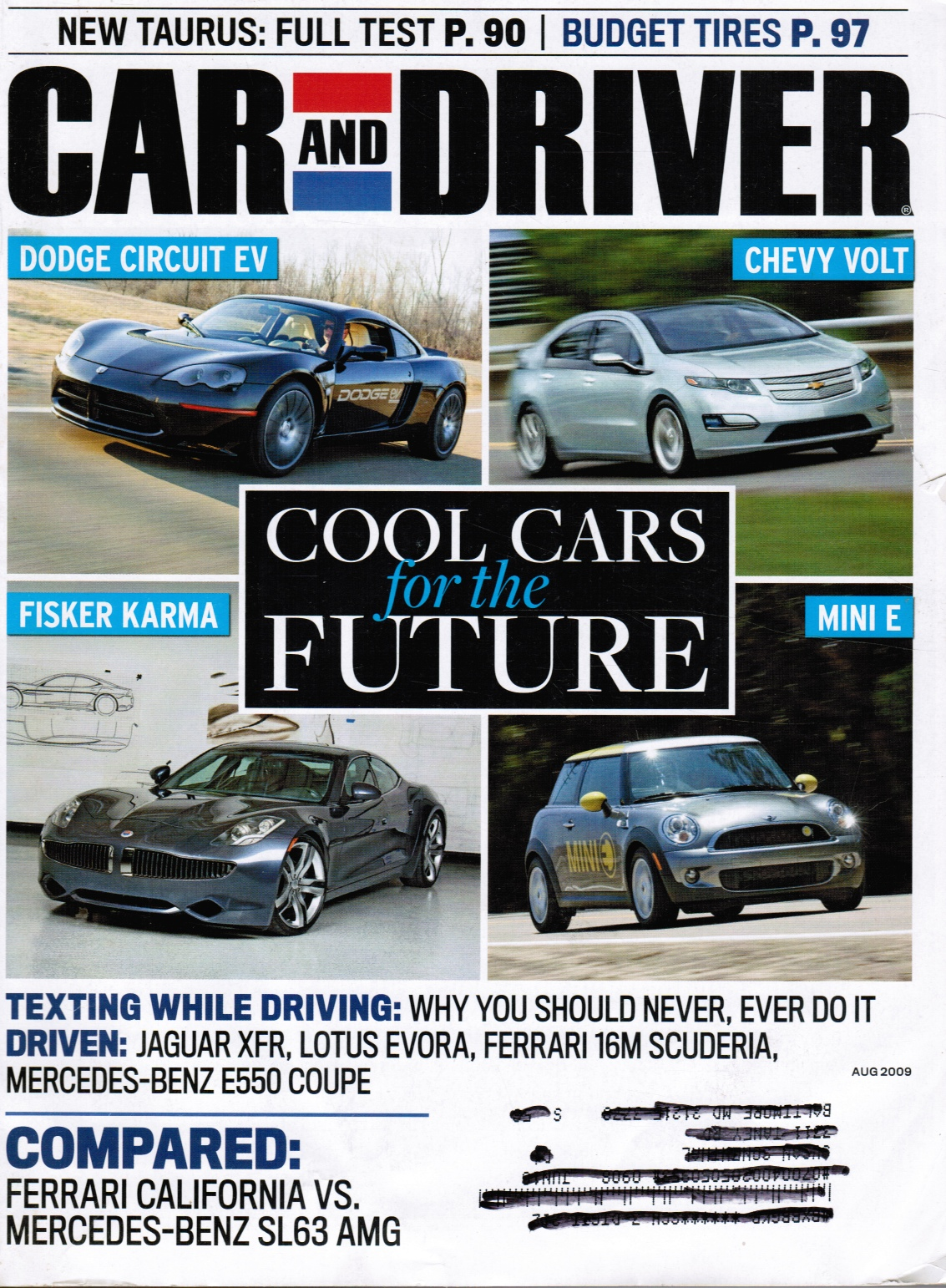 Image for Car and Driver Magazine August 2009:  Cool Cars for the Future