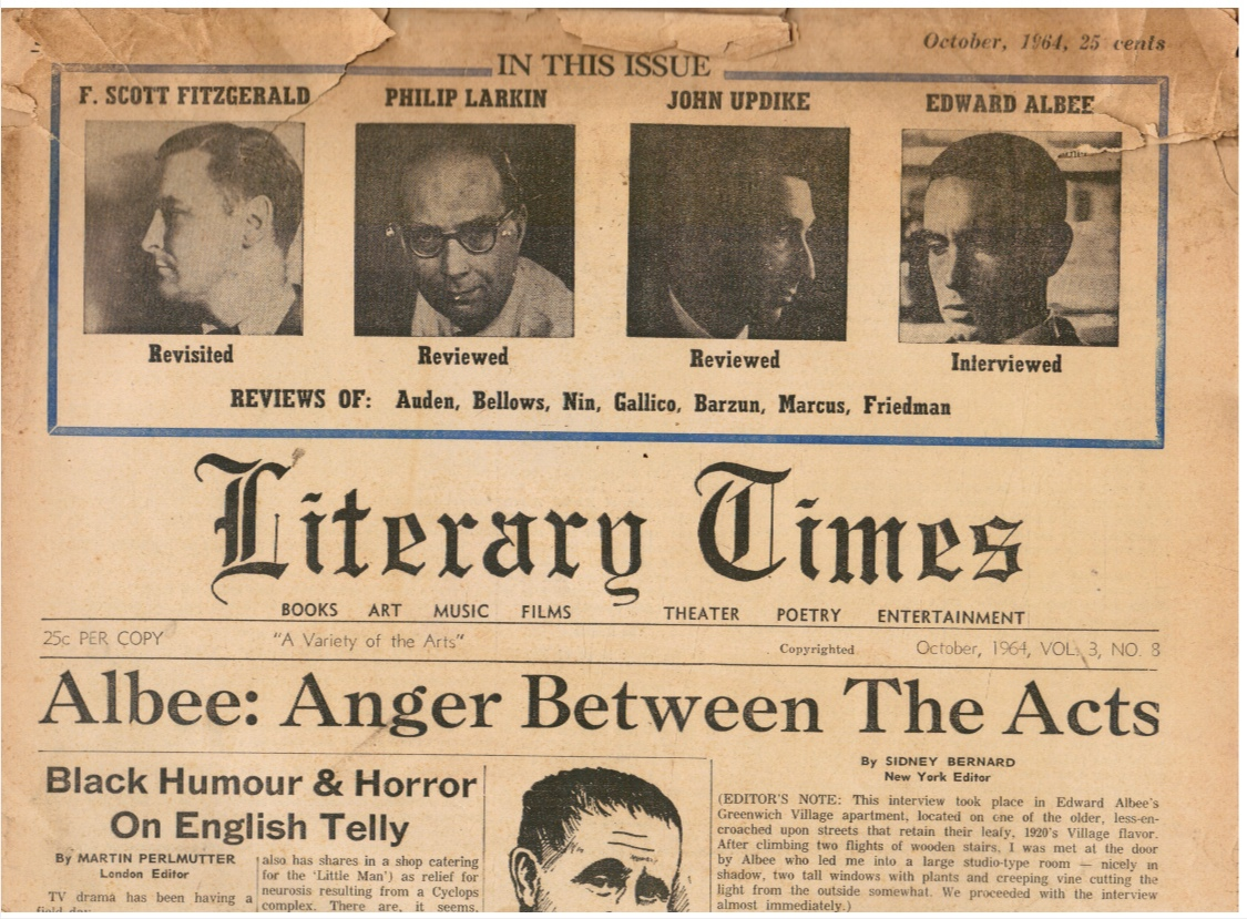 Image for Literary Times: October 1964 Edward Albee; Black Humour; F. Scott Fitzgerald; Philip Larkin; John Updike; Edward Albee