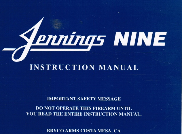 Image for Jennings Model Nine Pistol: Instruction Manual