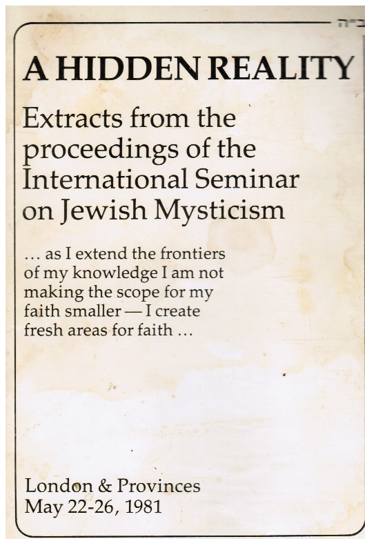 Image for A Hidden Reality: Extracts from the Proceedings of the International Seminar on Jewish Mysticism