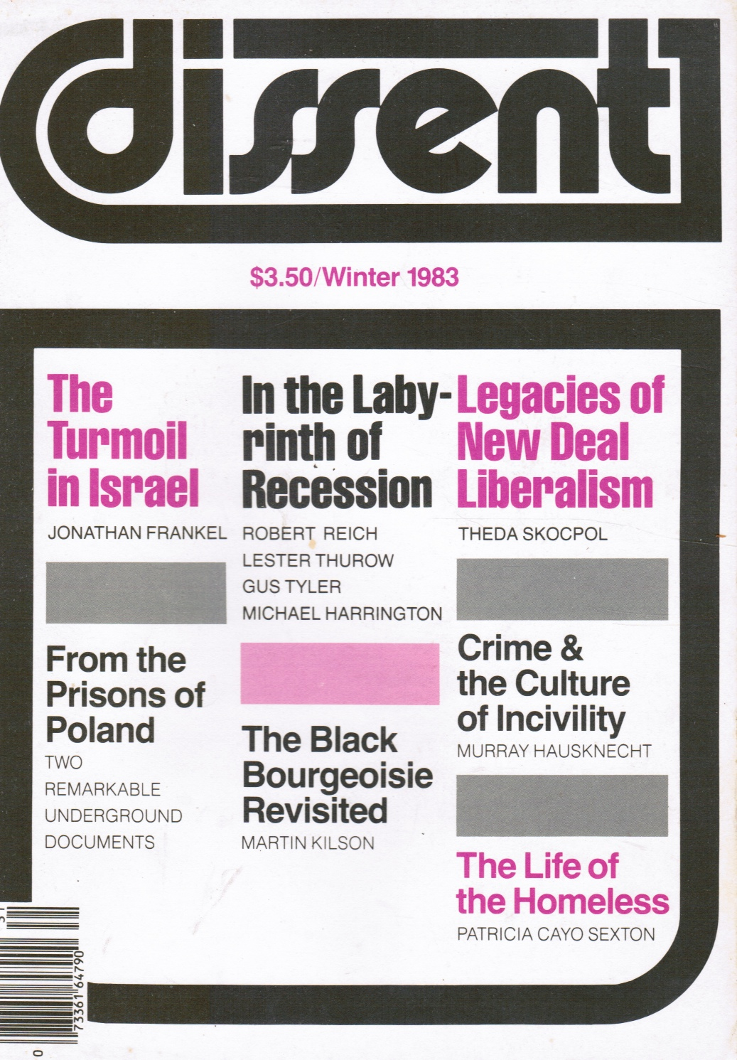 Image for Dissent Magazine Winter 1983 Black Bourgeoise, Homeless, Israel's West Bank
