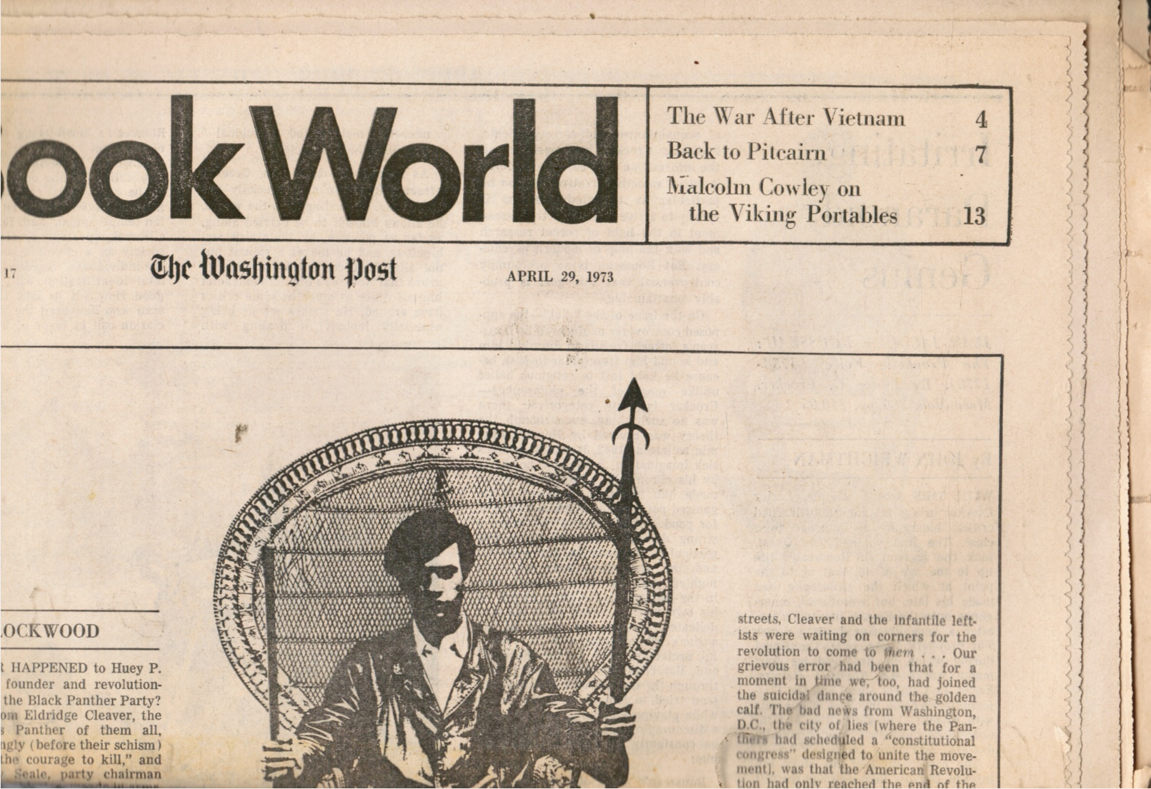 Image for Book World: the Washington Post - April 29, 1973 Huey Newton, Revolutionary Suicide (Cover)