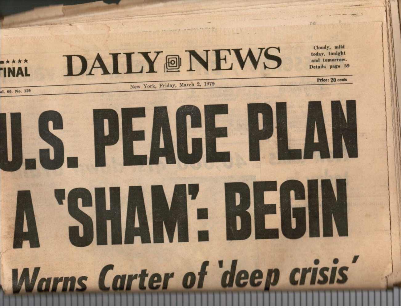 Image for 1979: New York Daily News: March 2, 1979 US Peace Plan - Israel - Jimmy Carter; Elvis; Muhammed Ali and Kent Green