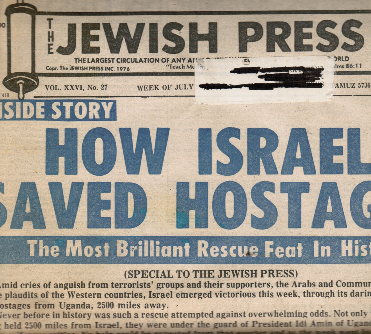 Image for The Jewish Press - July 1976 How Israel Saves Hostages (Entebbe) -- Cover Story