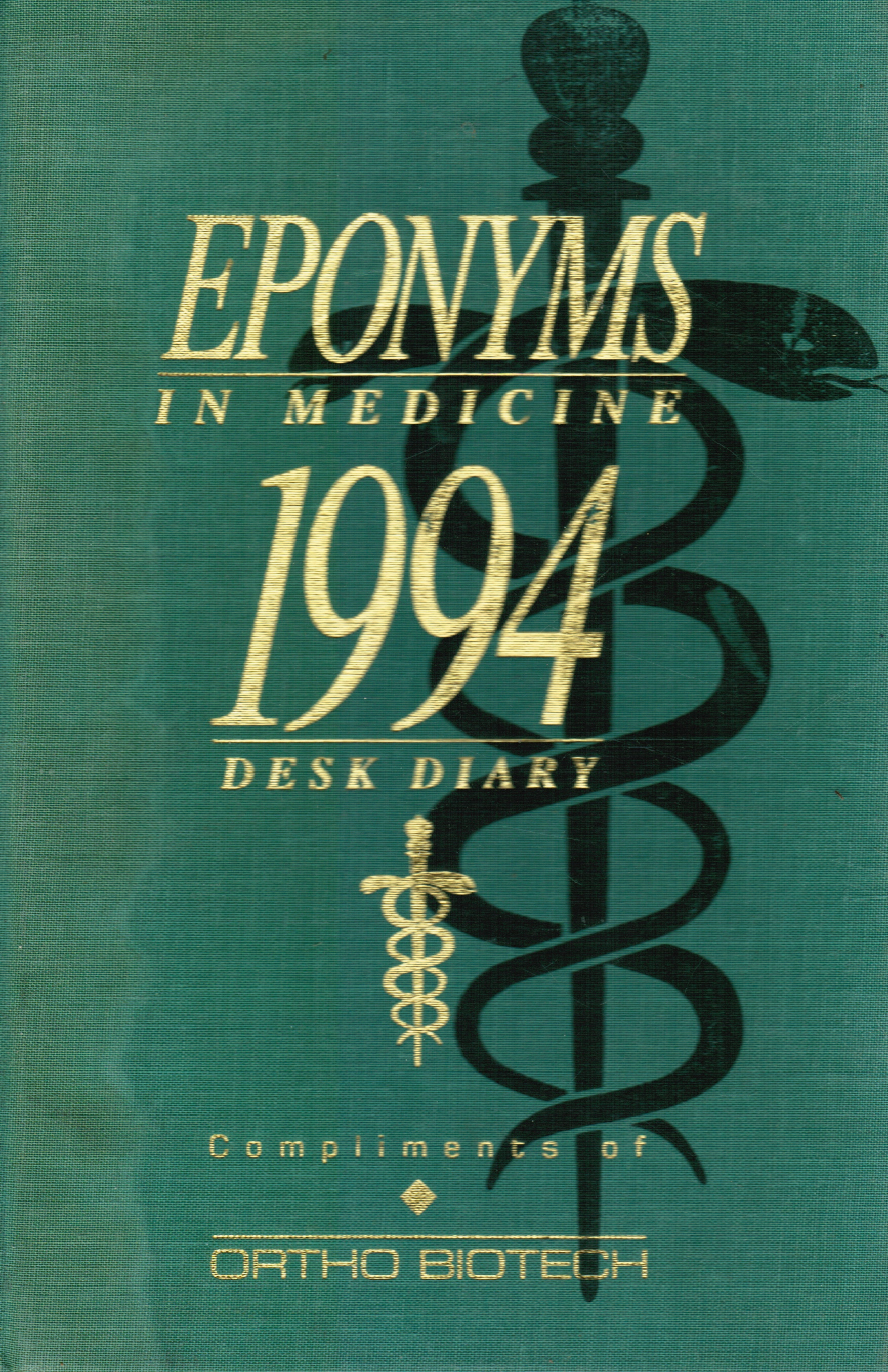 Image for Eponyms in Medicine:  1994 Desk Diary