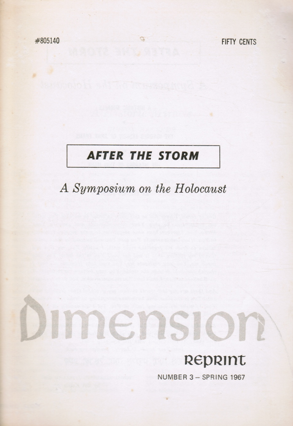 Image for After the Storm: a Symposium on the Holocaust
