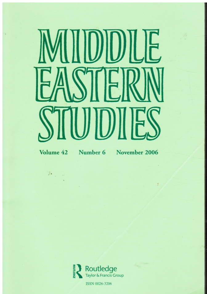 Image for Middle Eastern Studies: Vol 42, No 6, Nov 2006