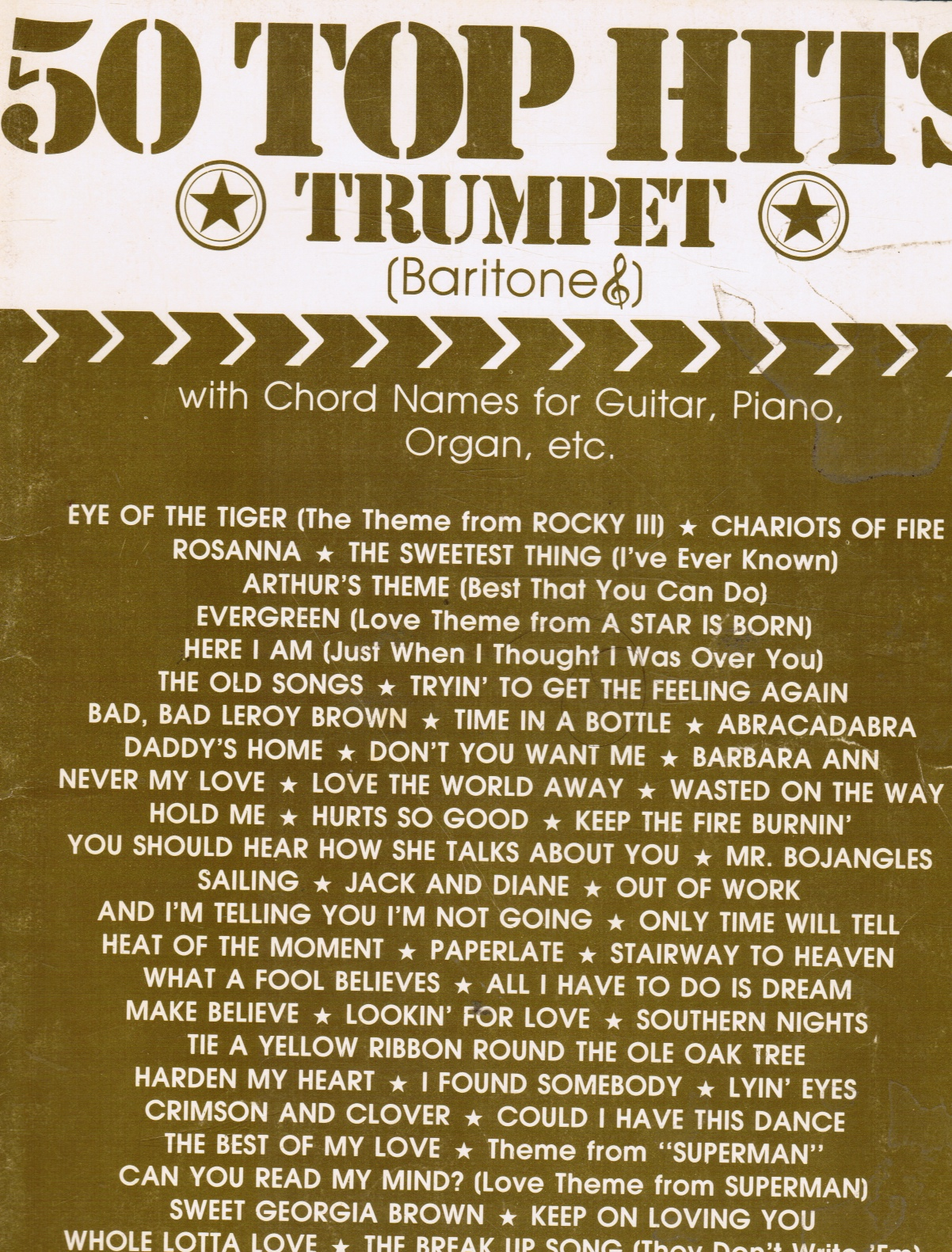 Image for 50 Top Hits Trumpet (Baritone) with Chord Names for Guitar, Piano, Organ, Etc