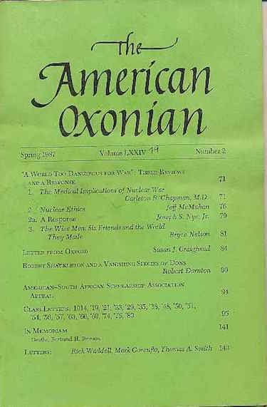 Image for The American Oxonian, Spring 1987 Nuclear Ethics, Robert Shackleton