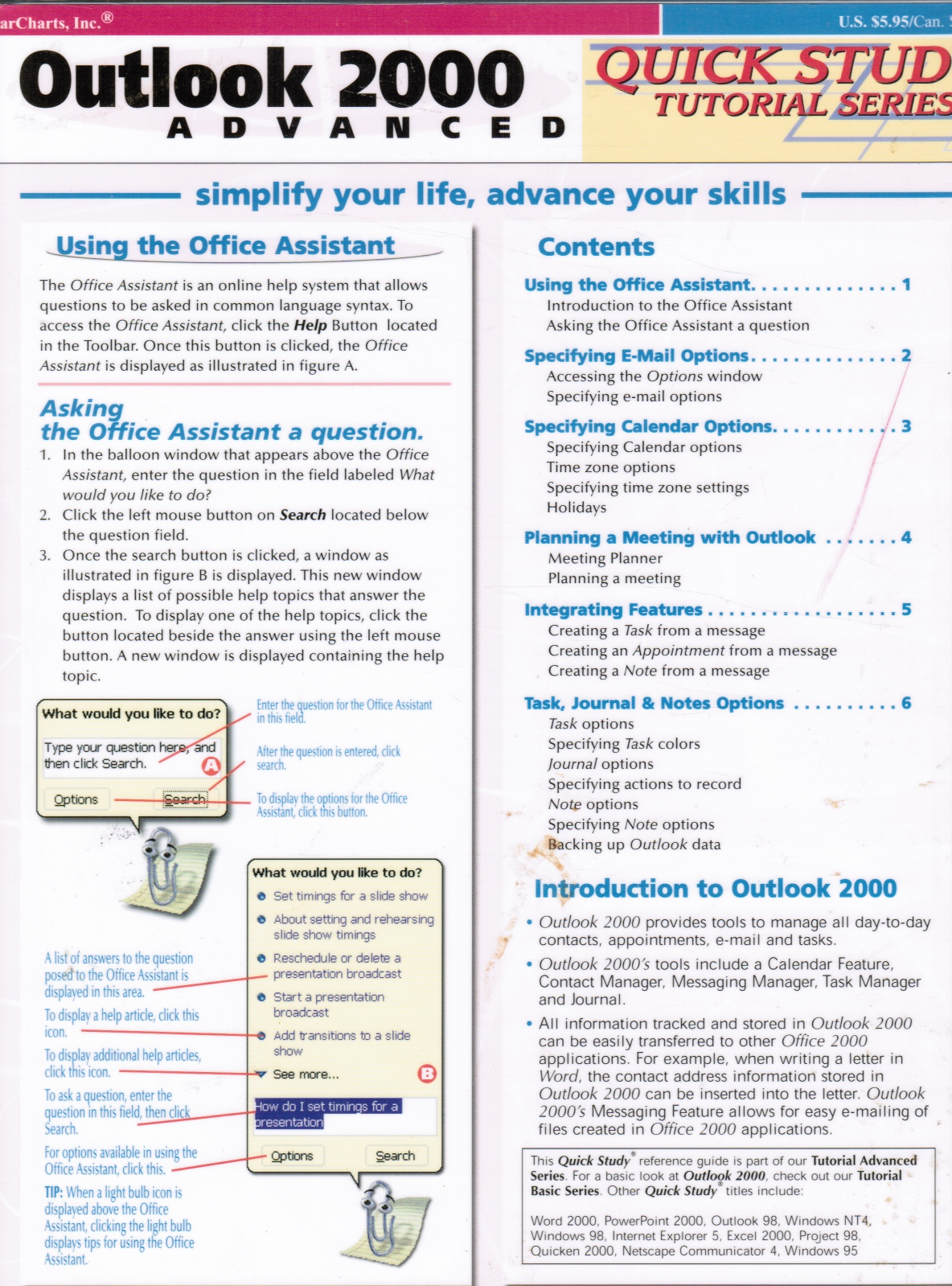 Image for Outlook 2000 Advanced Quick Study Tutorial Series