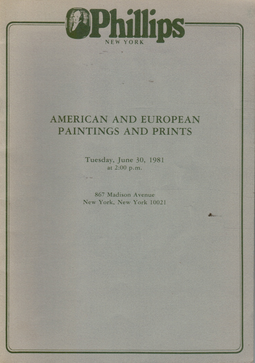Image for American and European Paintings and Prints June 30, 1981